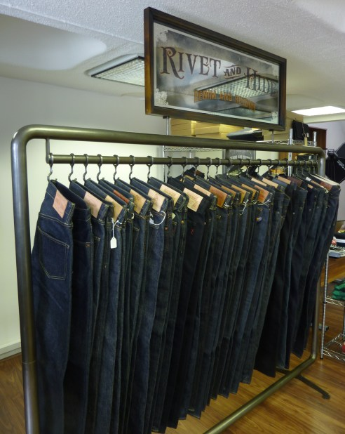 Various brands and styles of jeans on the Rack of Rare Denim