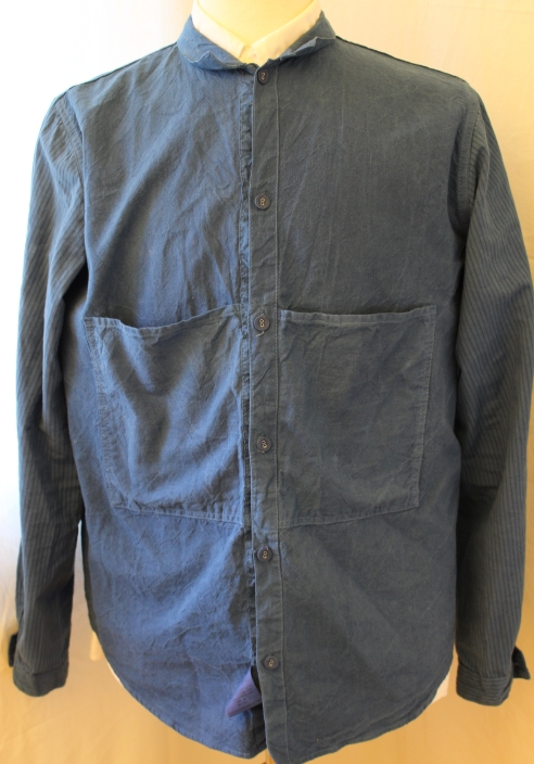 Tender 430 butterfly shirt. This seasons version. Selvedge ecru cotton and striped sleeves. Linen covered buttons and no side seam. Woad dyed by hand. More details here. Worn one. Retails at 195 pounds, asking 150 pounds.