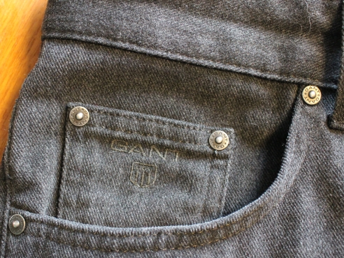 Gant flannel jeans. Super soft dark grey cotton, very soothing to the touch. Only worn a few times. Size 34x30, so short of leg. Asking 45 pounds.