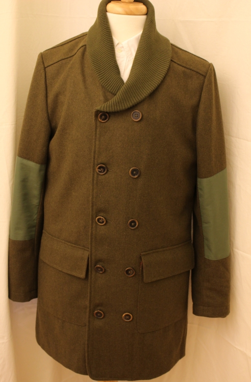 Realm & Empire Panton Pilot Jacket. A great wool melton coat in dark green wool. Ribbed shawl collar and cuffs. Size large. Retails at 350 pounds. Asking 150 pounds.