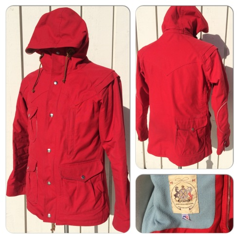 Monitaly Mountain Parka. From the first season they made this incredible jacket. Radiant red with pale blue wool lining. 9 pockets, top notch quality. Worn maybe 12 times. Superb jacket, just a little tight for me. Marked size 38. Retailed at around 650 pounds. A bargain at 250 pounds.