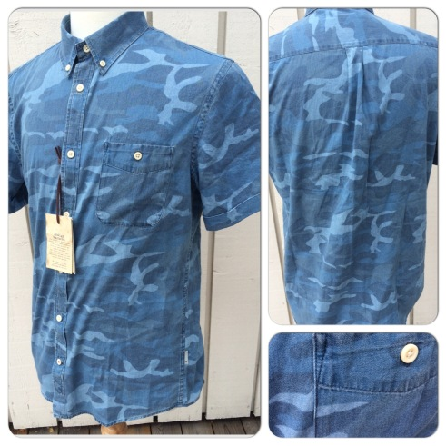 NN07 short-sleeved shirt in indigo camo. Nice summer piece for places where there is actual summer. Retails at around 85 pounds, asking 45. Perfect unused condition with tags attached.