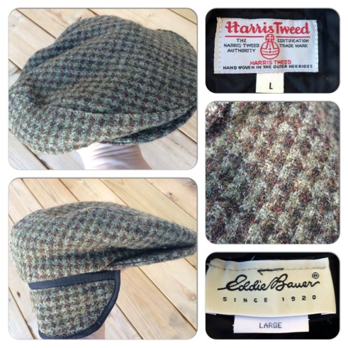 Eddie Bauer flat cap with earflaps. Great Harris Tweed outer and Thinsulate lining. Great condition. Made in the US. Marked as a large. 25 pounds.