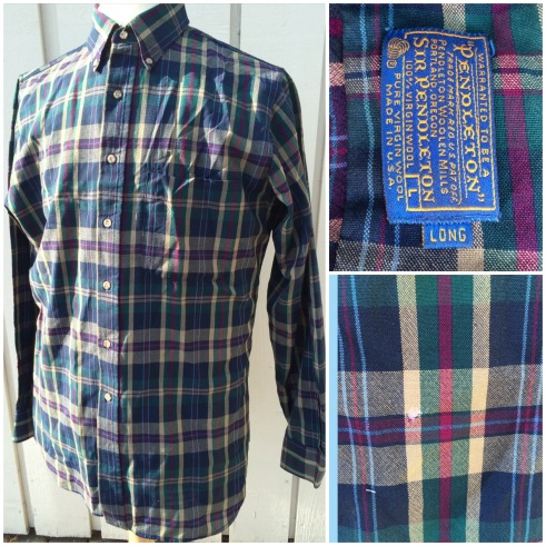 Pendleton wool shirt. Marked size large and long. Lovely colours and a great shirt, but 4 small holes. One on the back (shown), one on the shoulder, one one the front and one next to the top button hole. Asking 15 pounds.