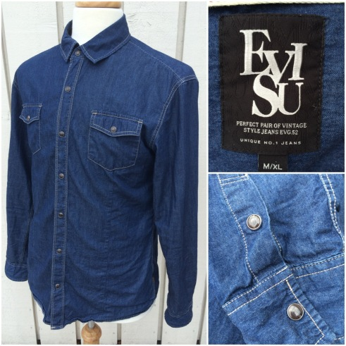 "Eves denim shirt. Western style. Marginal wear, washed once. Marked M/XL, measures P2P 21"". Asking 50 pounds."