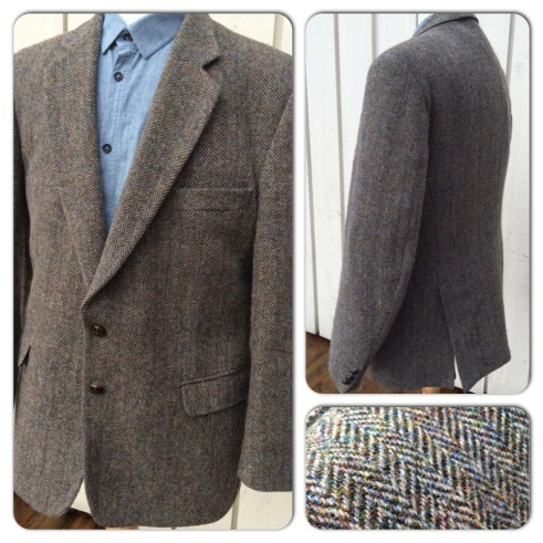 Vintage Harris Tweed jacket. Excellent condition and gorgeous tweed. Leather buttons are all in place. Asking 59 pounds.
