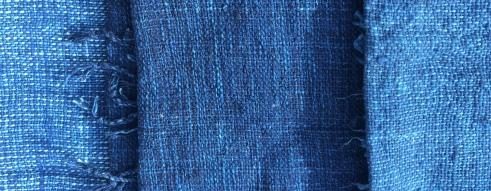 From left to right: Original indigo and washed super-indigo scarves.