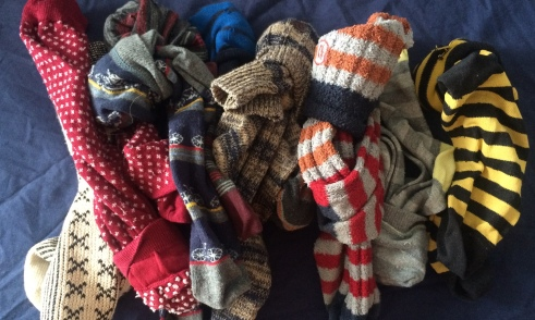 A random selection of socks from a certain persons sock drawer
