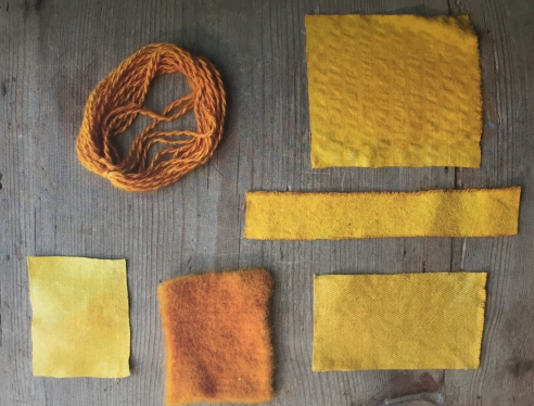 Examples of turmeric dyed items, from The Book.