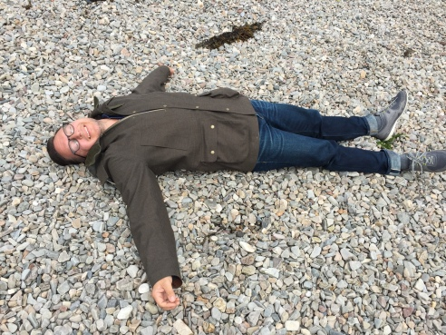 Frolicking on the beach at Ullapool.